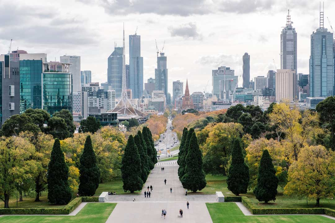 aerial drone photography of melbourne city from shrine