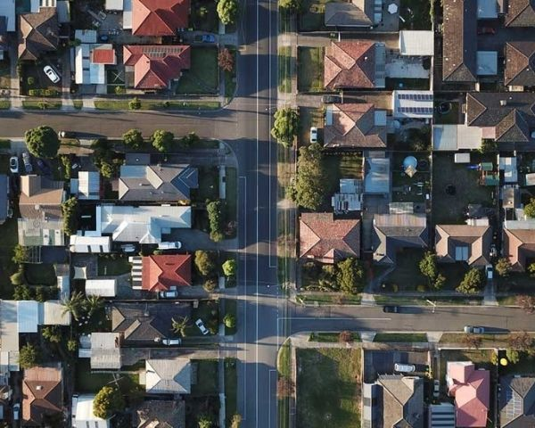 aerial view of suburbs in melbourne for drone photography services