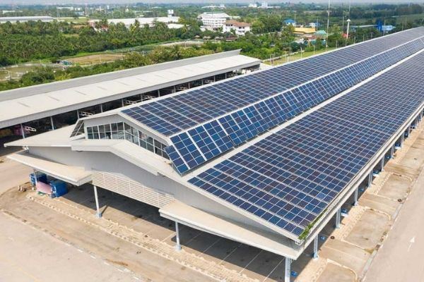 aerial view solar cells roof solar panels installed roof large industrial drone footage